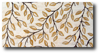 Marble and Granite inlaid leaves.